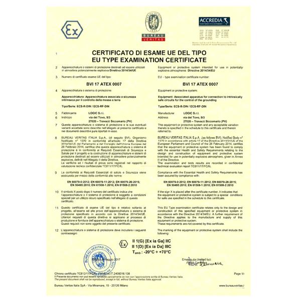 Certificato ATEX600